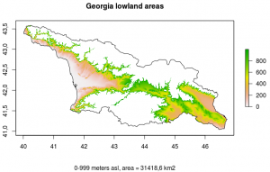 Map of all regions in Georgia between 0 and 999 m above sea level.