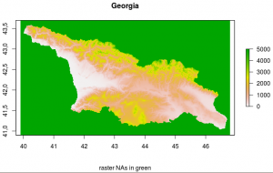 Raster of SRTM data of Georgia. The raster's NA values are colored green. These need to be delected from the raster in order to calculate the country area.